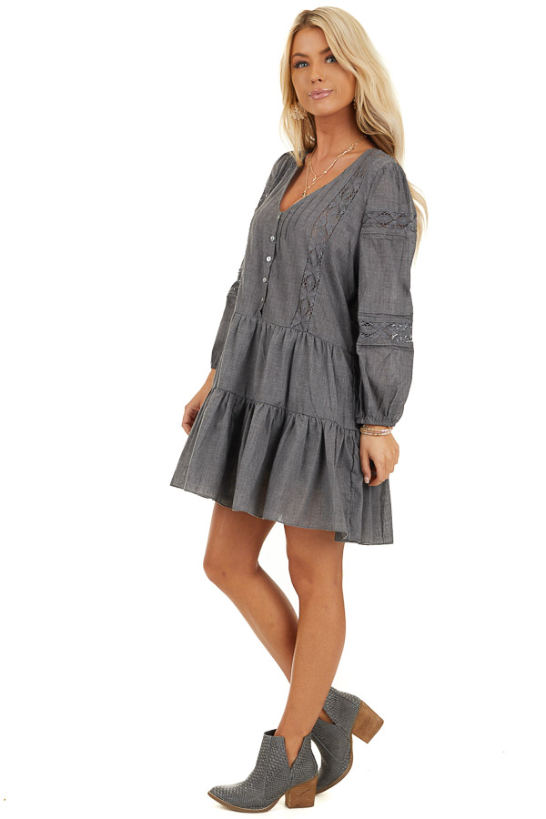 Stormy Grey Babydoll Dress with Button Detail and Lace Inset side full body
