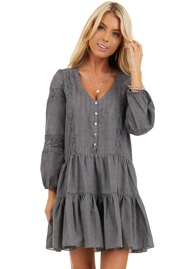Stormy Grey Babydoll Dress with Button Detail and Lace Inset front close up