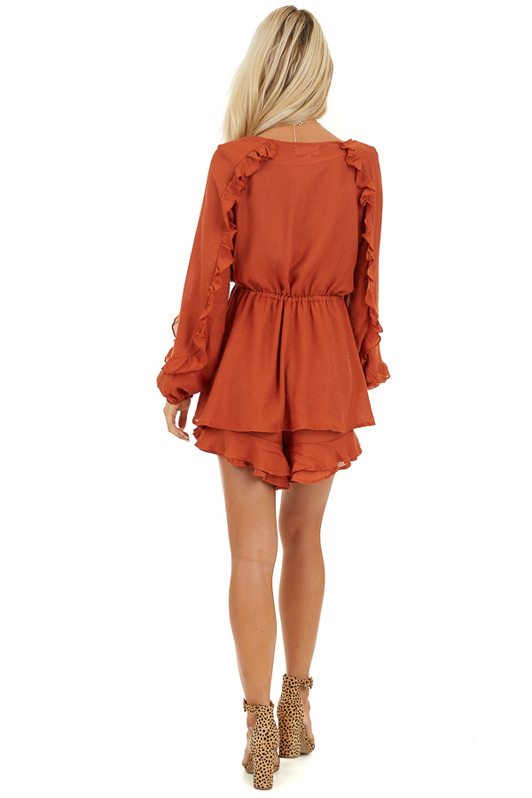 Burnt Orange Surplice Romper with Ruffles and Waist Tie back full body