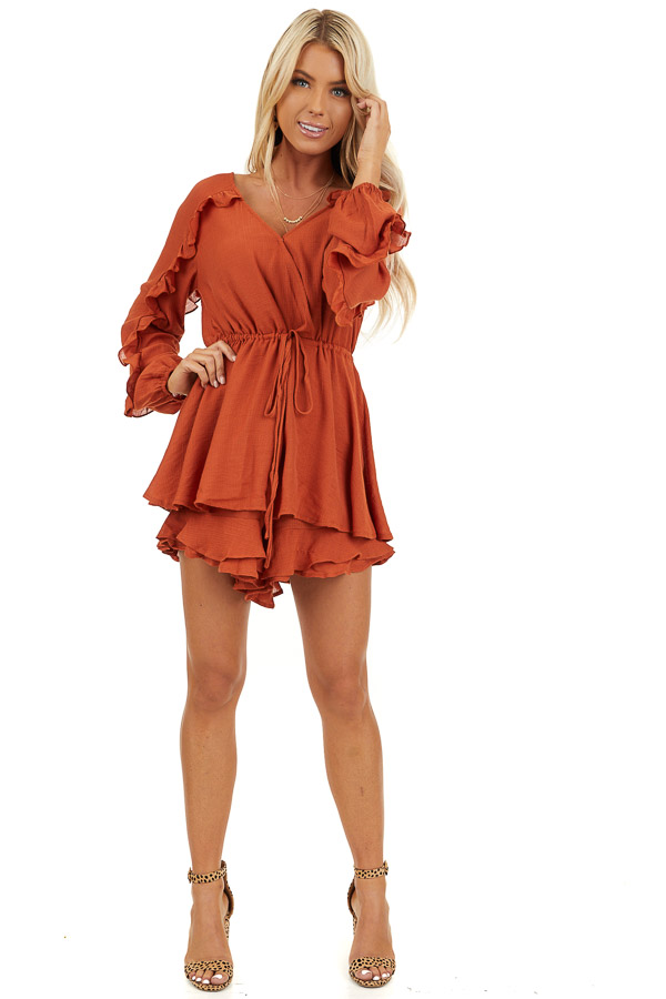 Burnt Orange Surplice Romper with Ruffles and Waist Tie front full body