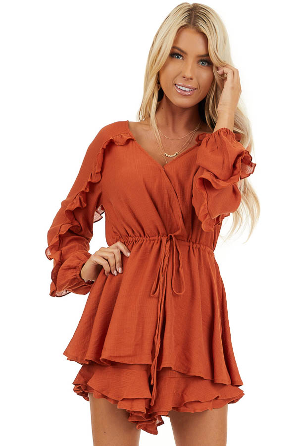 Burnt Orange Surplice Romper with Ruffles and Waist Tie front close up