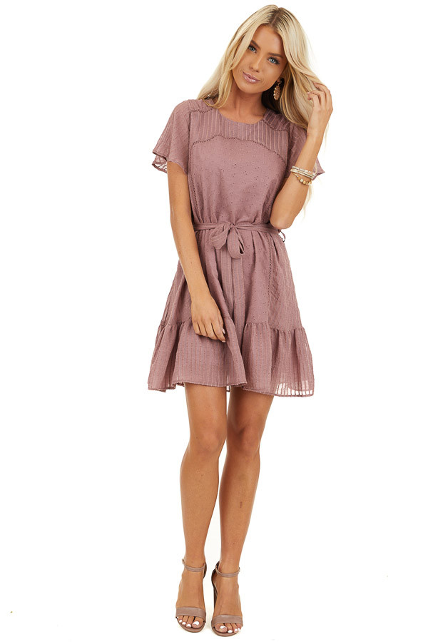 Dusty Rose Dress with Embroidered Eyelet Lace Details front full body