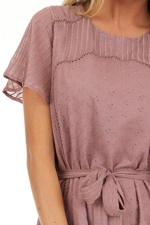 Dusty Rose Dress with Embroidered Eyelet Lace Details detail