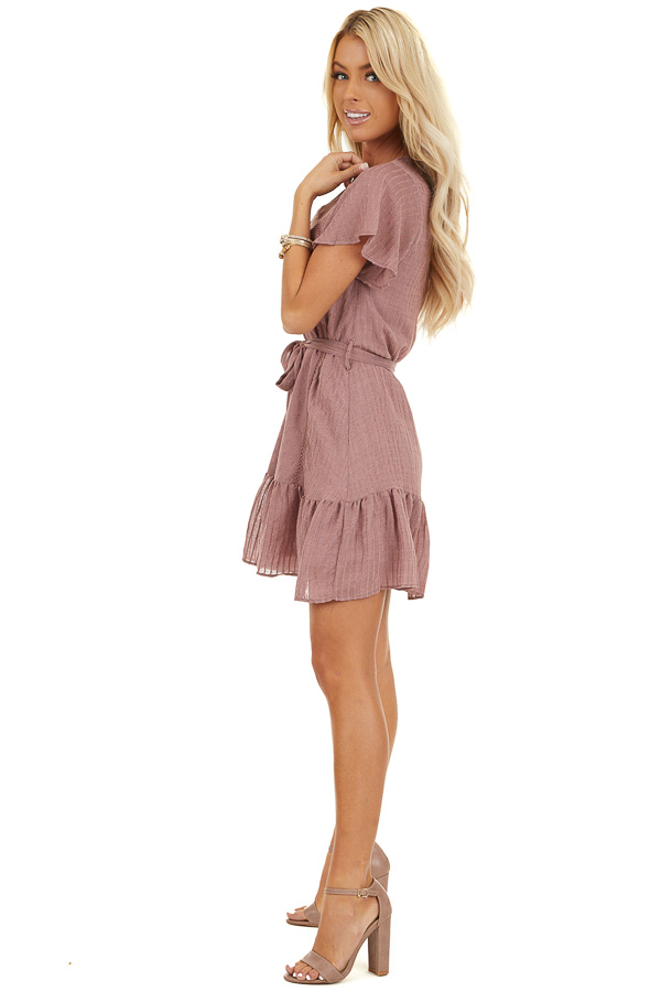 Dusty Rose Dress with Embroidered Eyelet Lace Details side full body