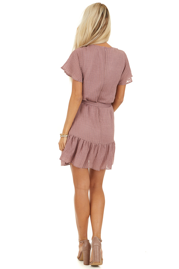 Dusty Rose Dress with Embroidered Eyelet Lace Details back full body
