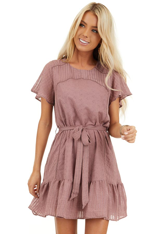 Dusty Rose Dress with Embroidered Eyelet Lace Details front close up