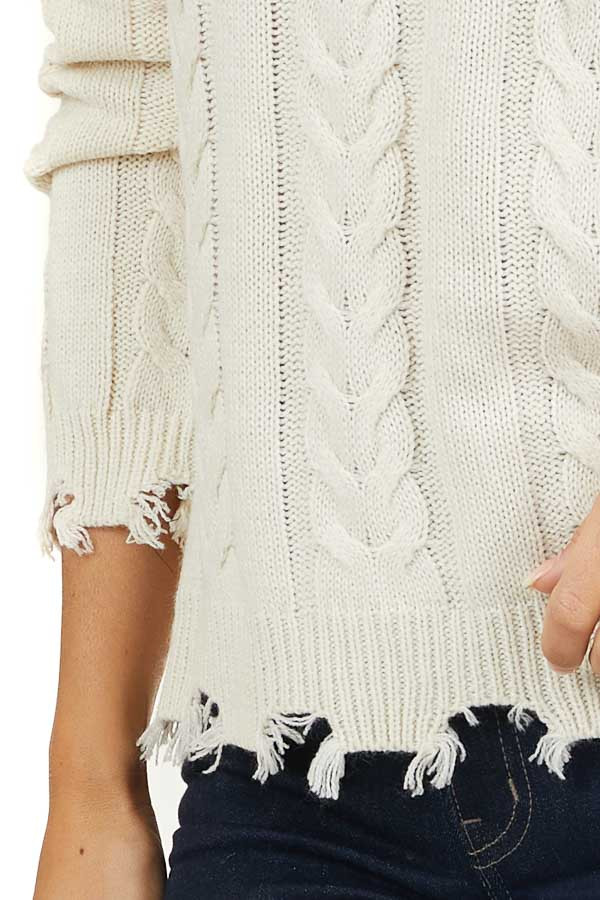 Ivory Crew Neck Lightweight Sweater with Distressed Details
