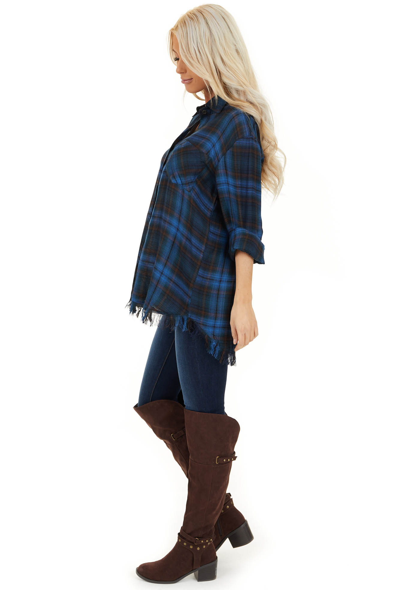 Cobalt Blue and Deep Green Plaid Top with Frayed Hemline side full body