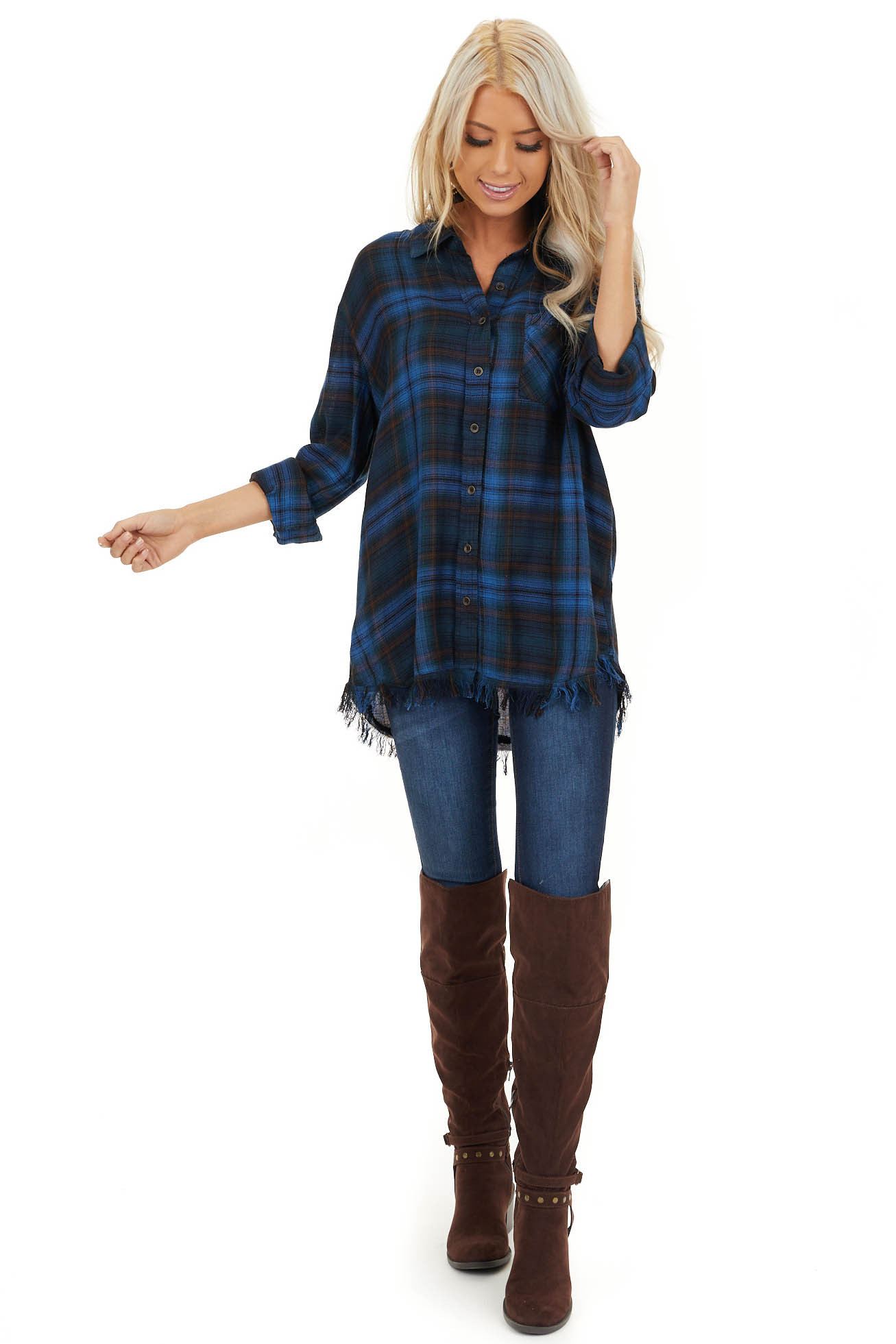 Cobalt Blue and Deep Green Plaid Top with Frayed Hemline front full body