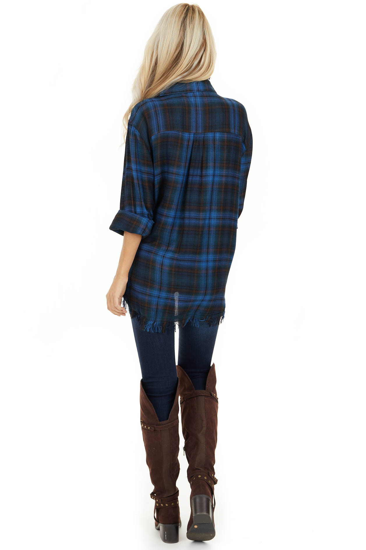 Cobalt Blue and Deep Green Plaid Top with Frayed Hemline back full body