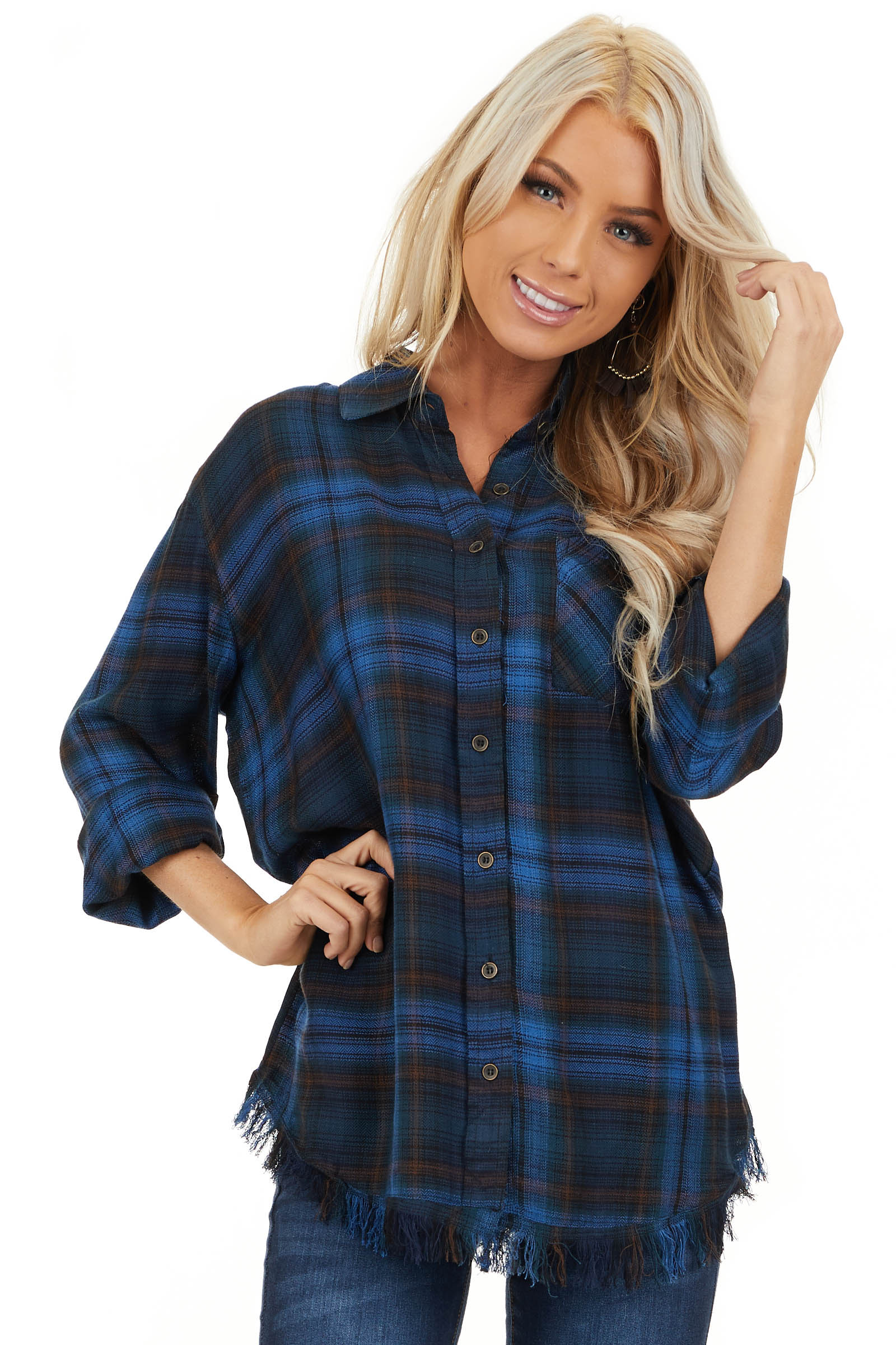 Cobalt Blue and Deep Green Plaid Top with Frayed Hemline front close up