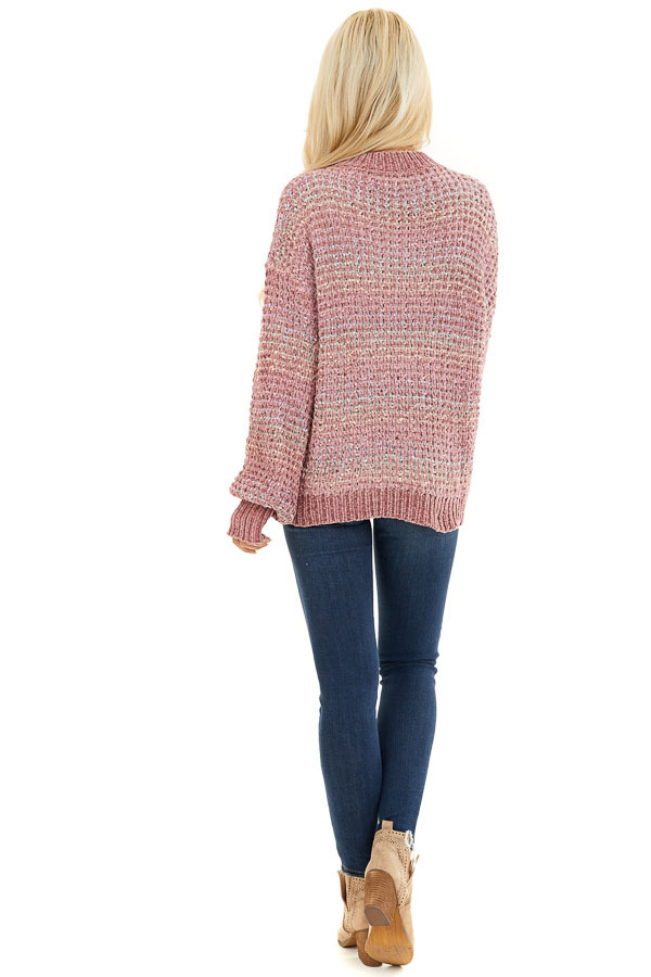 Dusty Blush Multi Color Chenille Sweater with Bubble Sleeves back full body