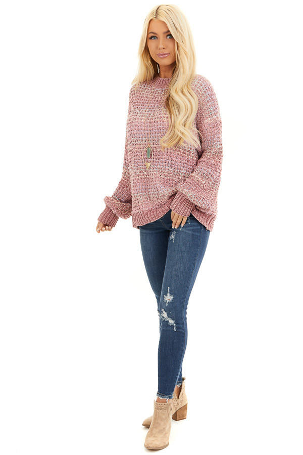 Dusty Blush Multi Color Chenille Sweater with Bubble Sleeves front full body