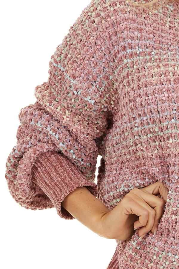Dusty Blush Multi Color Chenille Sweater with Bubble Sleeves detail