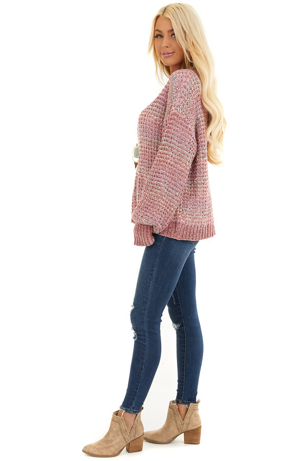 Dusty Blush Multi Color Chenille Sweater with Bubble Sleeves side full body