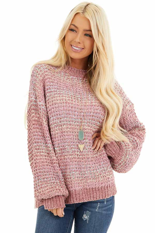 Dusty Blush Multi Color Chenille Sweater with Bubble Sleeves front close up