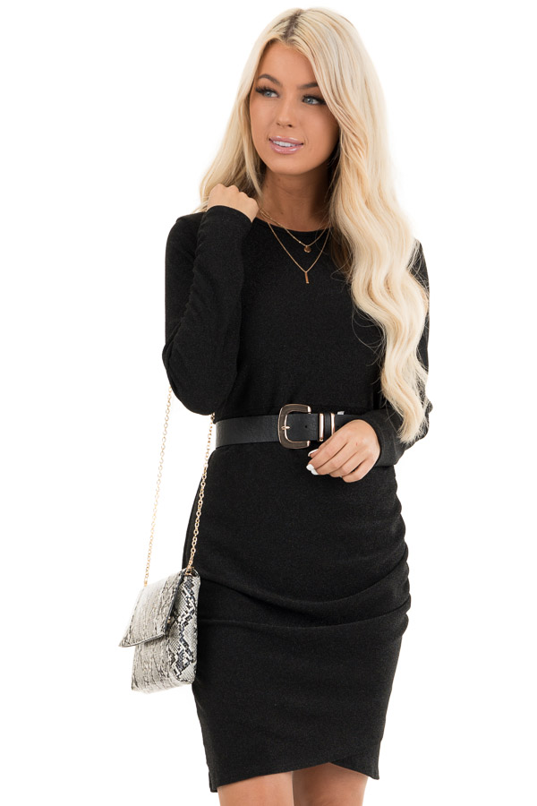 Black Glitter Long Sleeve Mini Dress with Side Ruching front close up