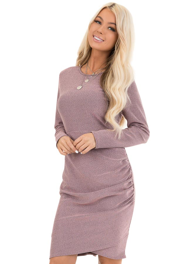 Mauve Glitter Long Sleeve Mini Dress with Side Ruching front close up