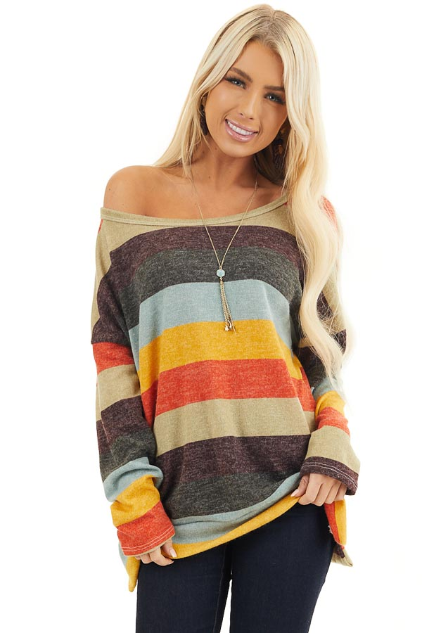 Sage Multi Colored Striped Long Sleeve Top with Side Slits front close up