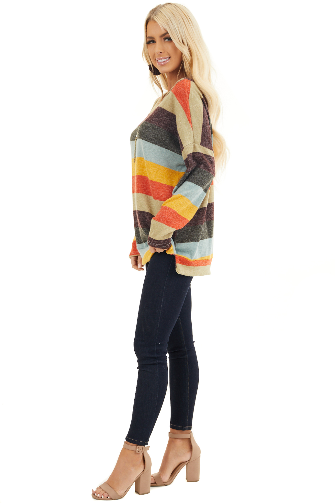 Sage Multi Colored Striped Long Sleeve Top with Side Slits side full body