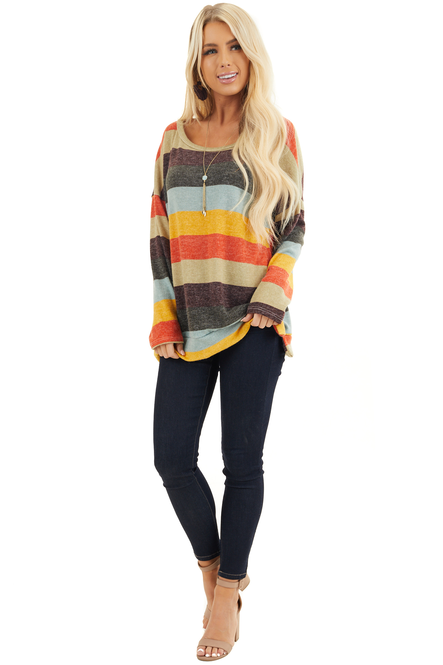 Sage Multi Colored Striped Long Sleeve Top with Side Slits front full body