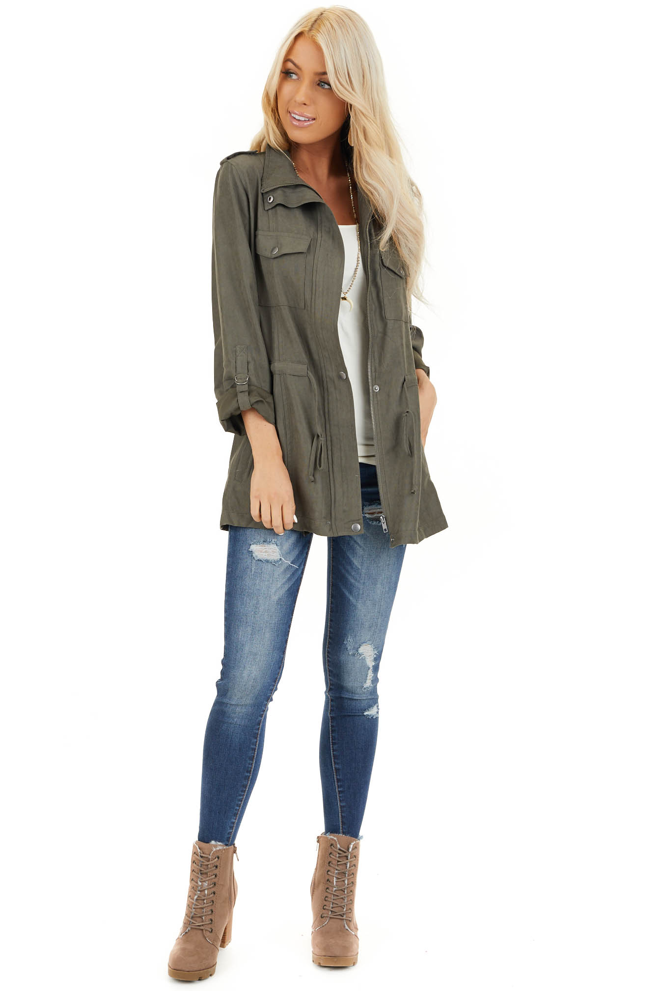 Deep Olive Lightweight Jacket with Drawstring Waist front full body