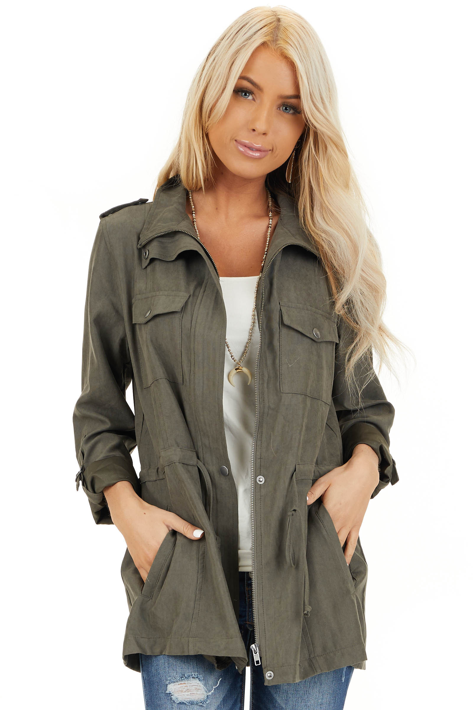 Deep Olive Lightweight Jacket with Drawstring Waist front close up