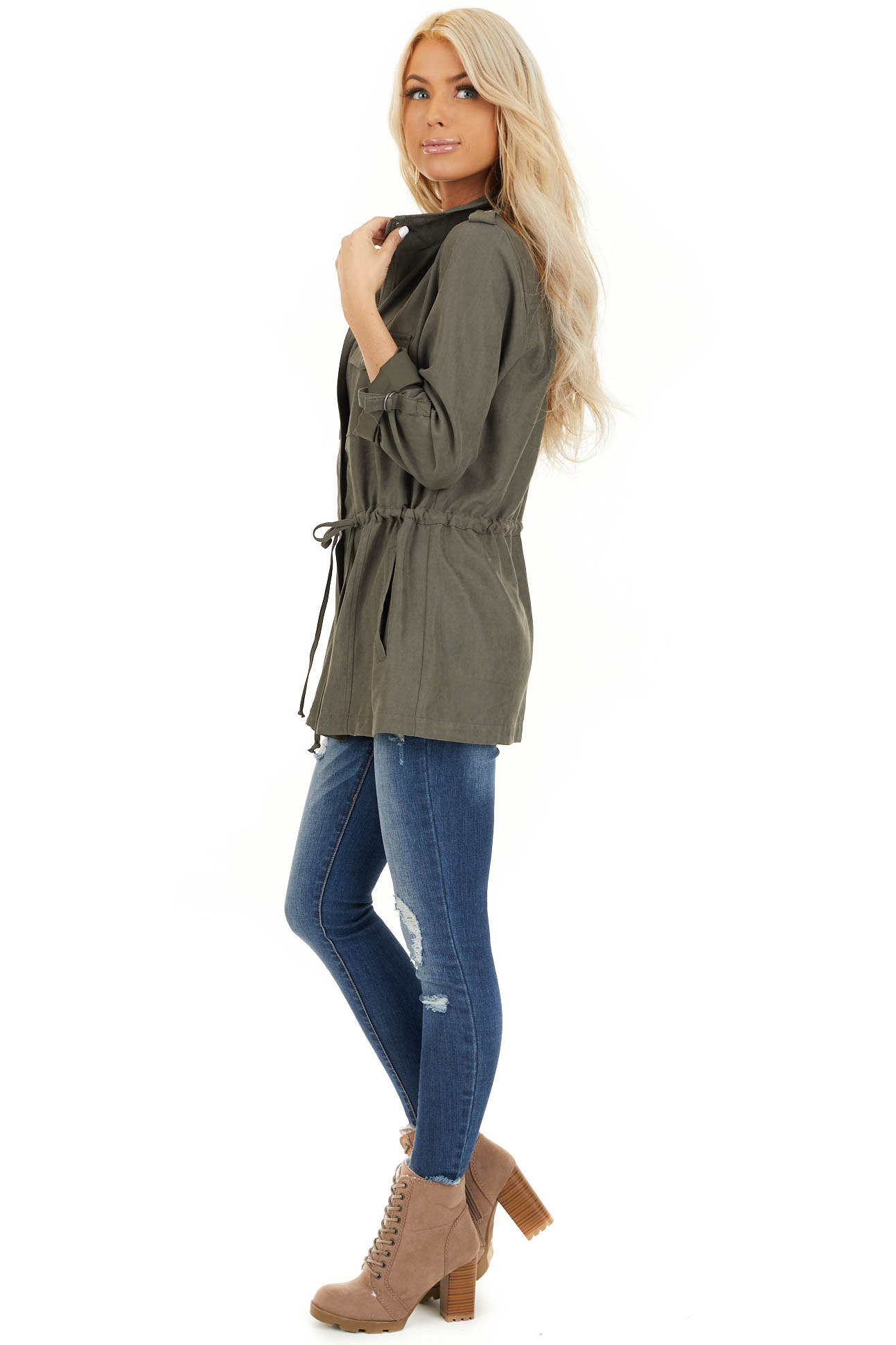 Deep Olive Lightweight Jacket with Drawstring Waist side full body