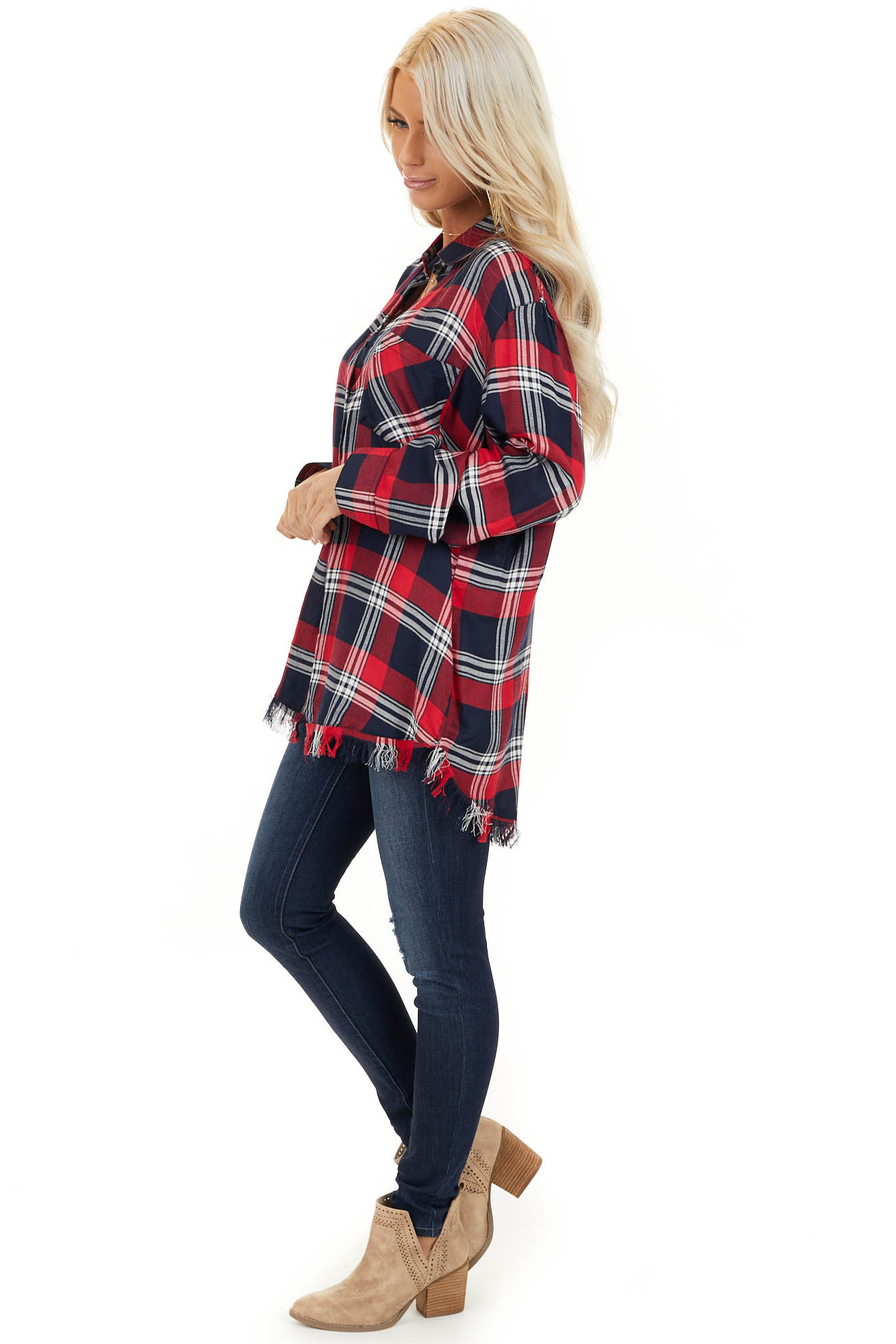 Lipstick Red and Navy Plaid Button Up Top with Long Sleeves side full body