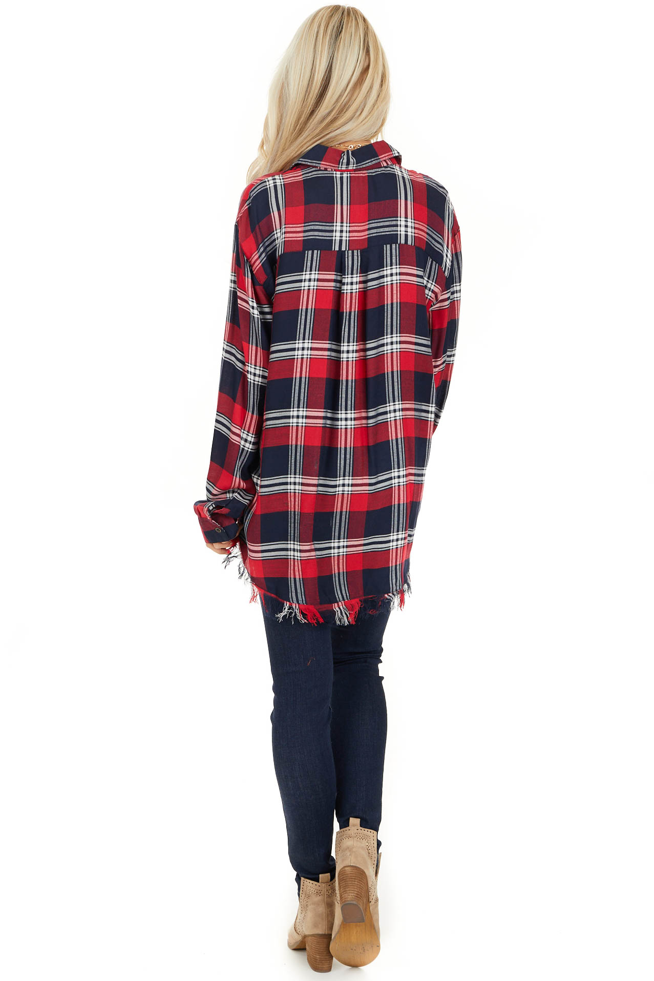 Lipstick Red and Navy Plaid Button Up Top with Long Sleeves back full body