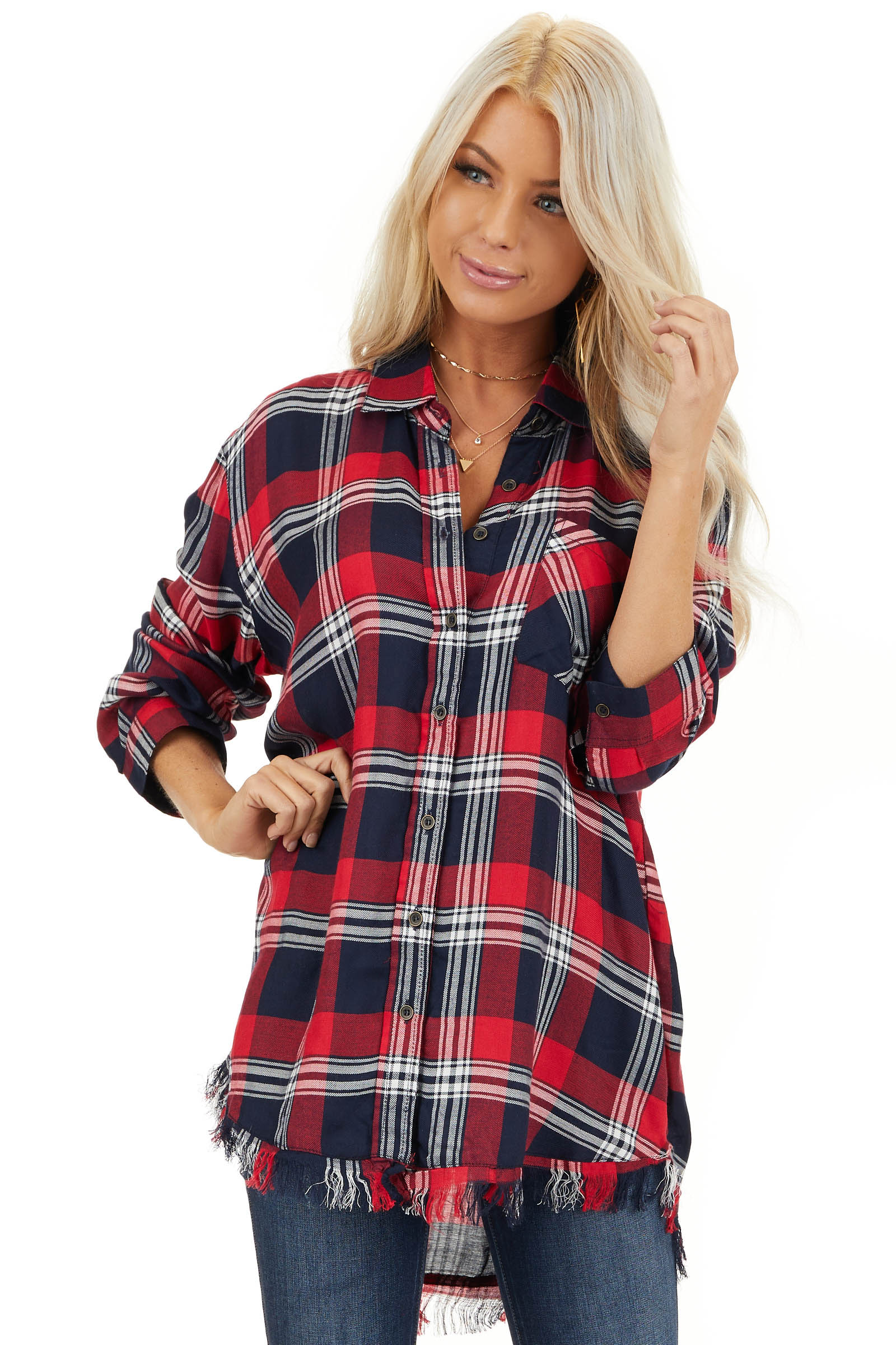 Lipstick Red and Navy Plaid Button Up Top with Long Sleeves front close up
