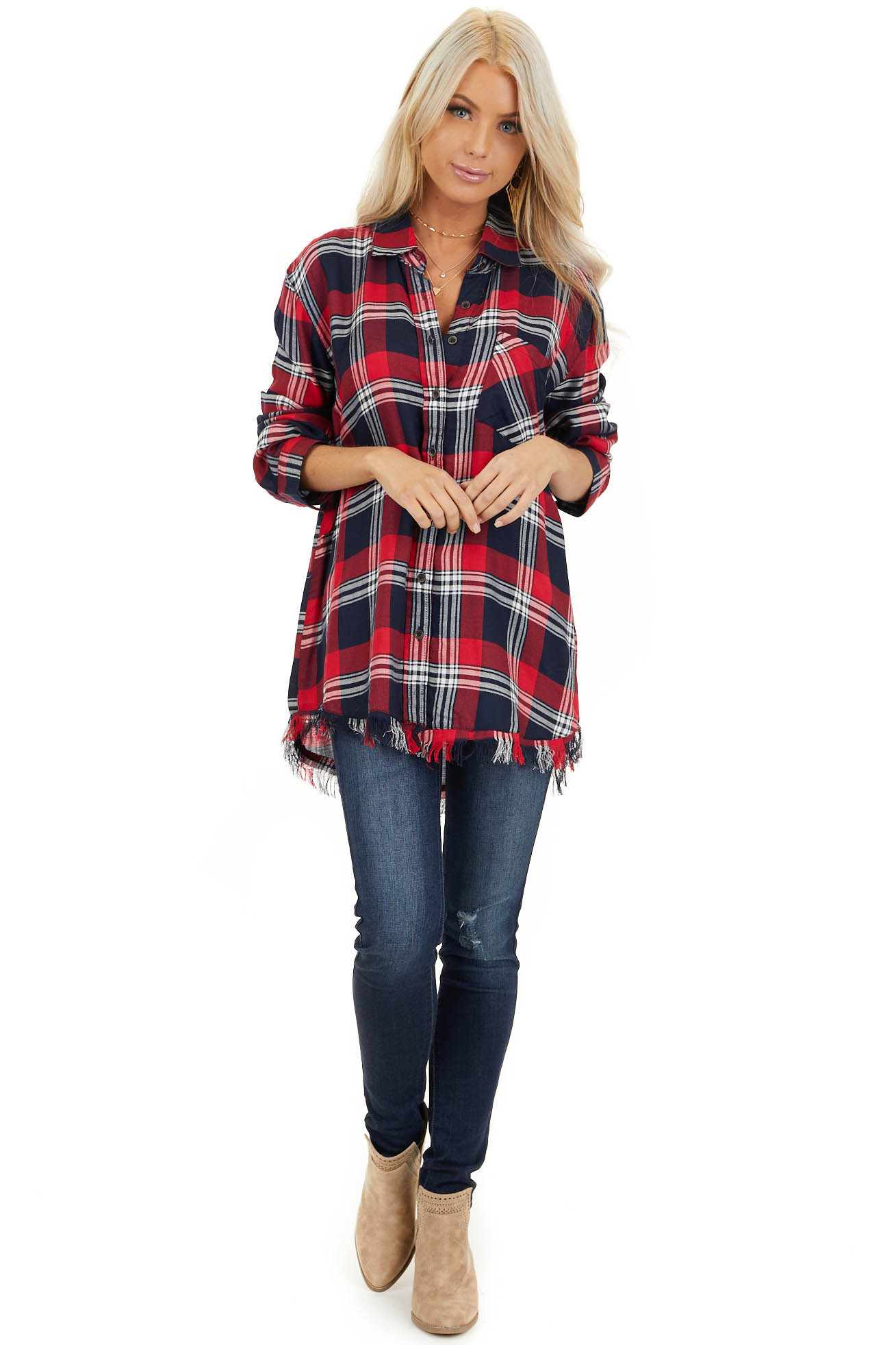 Lipstick Red and Navy Plaid Button Up Top with Long Sleeves front full body