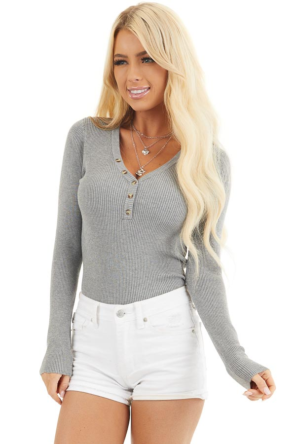 Heather Grey Ribbed Henley Top with Front Button Details front close up