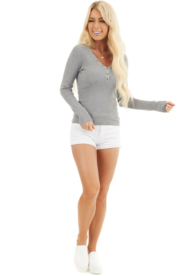 Heather Grey Ribbed Henley Top with Front Button Details front full body