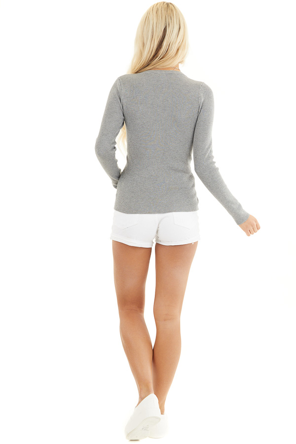 Heather Grey Ribbed Henley Top with Front Button Details back full body