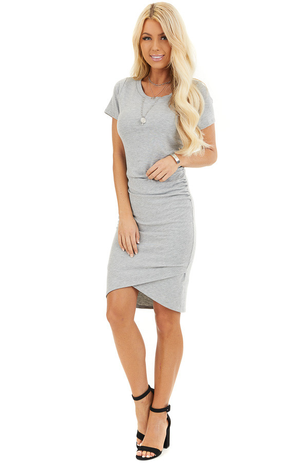 Heather Grey Short Sleeve Mini Dress with Side Ruching front full body