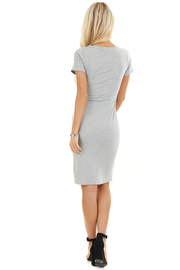Heather Grey Short Sleeve Mini Dress with Side Ruching back full body