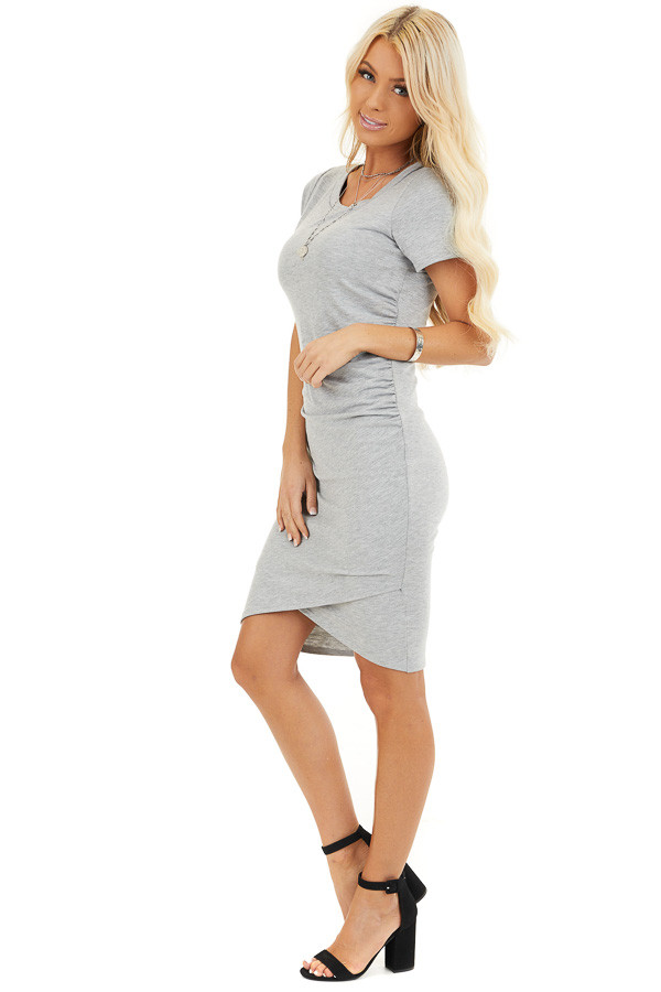 Heather Grey Short Sleeve Mini Dress with Side Ruching side full body