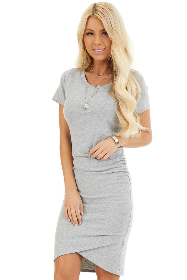 Heather Grey Short Sleeve Mini Dress with Side Ruching front close up