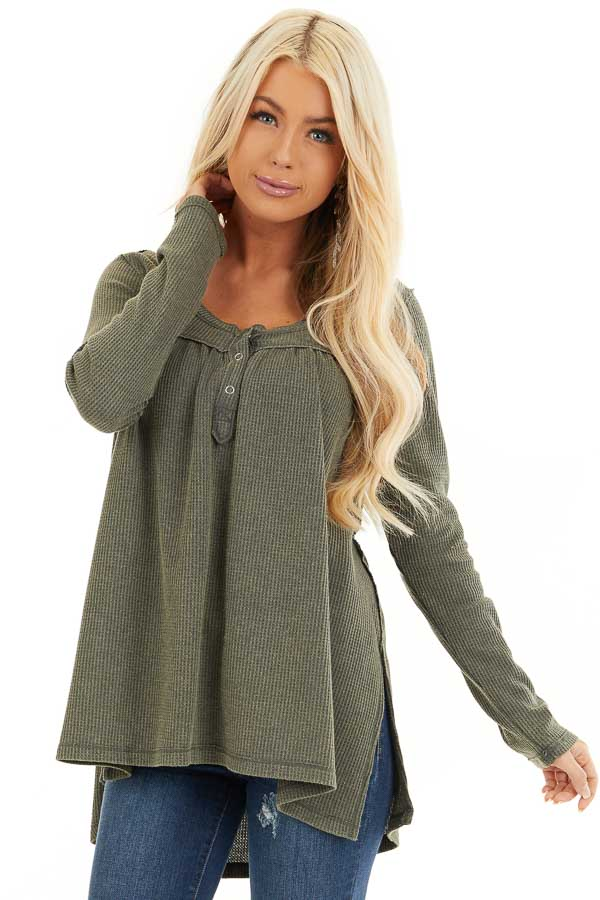 Faded Olive Textured Knit Henley Top with Long Sleeves front close up