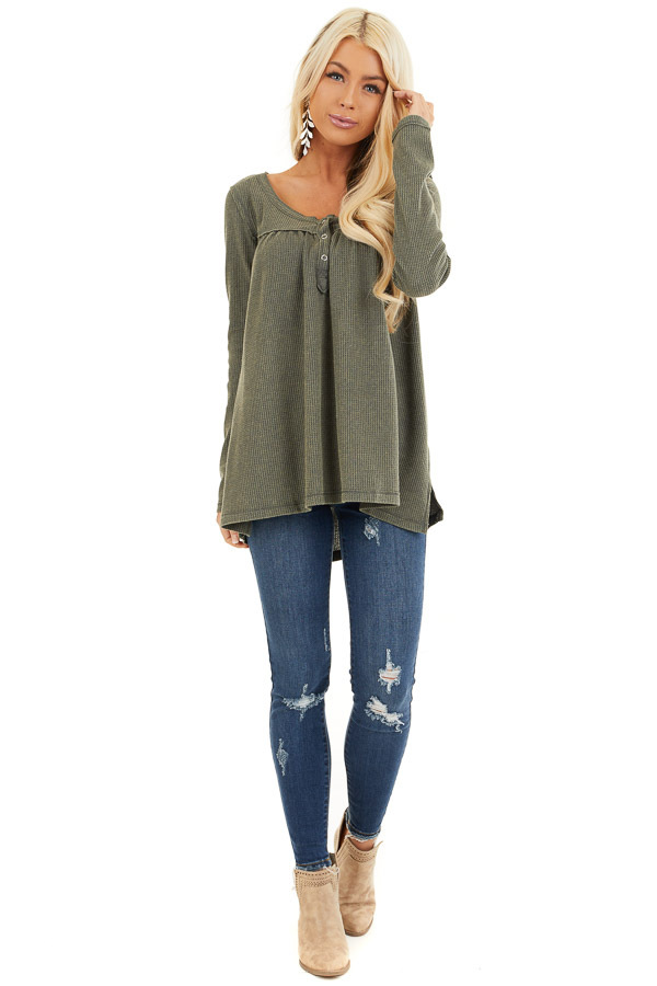 Faded Olive Textured Knit Henley Top with Long Sleeves front full body