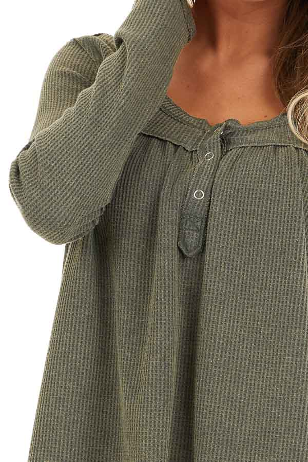 Faded Olive Textured Knit Henley Top with Long Sleeves detail