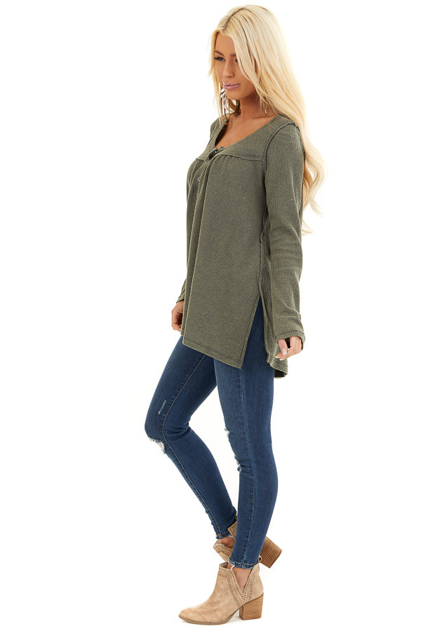 Faded Olive Textured Knit Henley Top with Long Sleeves side full body