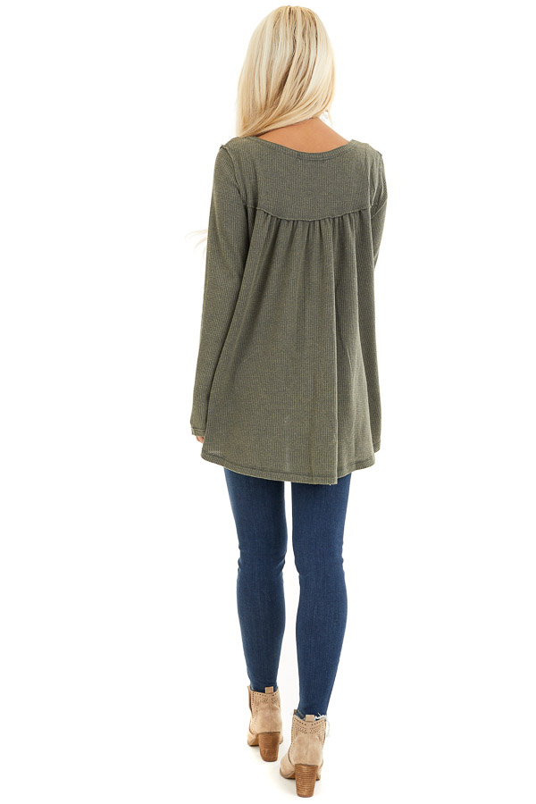 Faded Olive Textured Knit Henley Top with Long Sleeves back full body