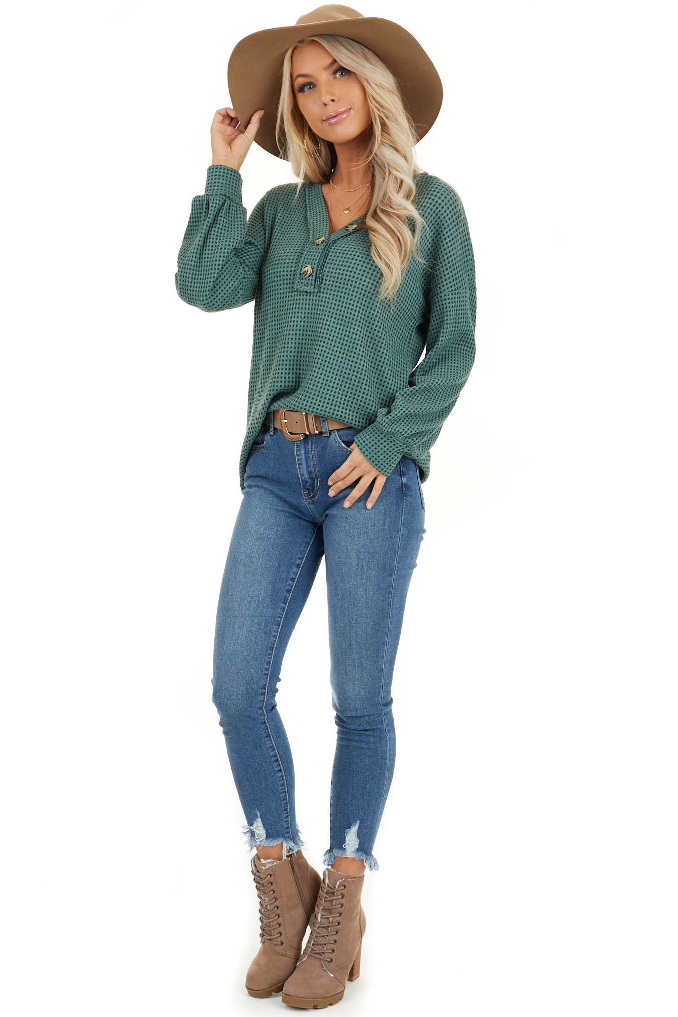 Teal Waffle Knit Top with Front Button Details front full body