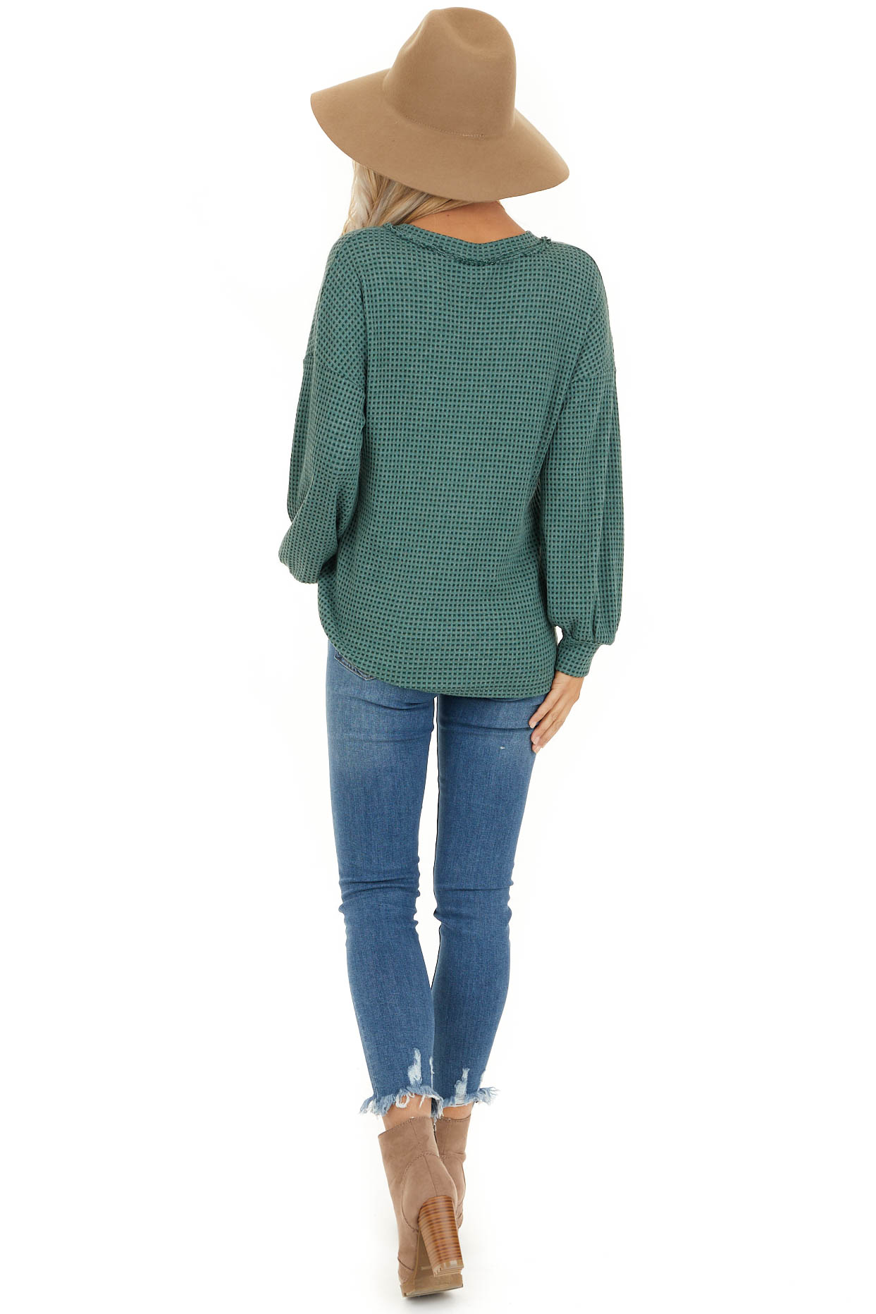 Teal Waffle Knit Top with Front Button Details back full body
