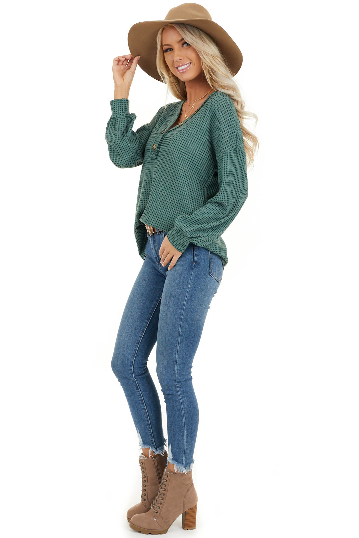 Teal Waffle Knit Top with Front Button Details side full body