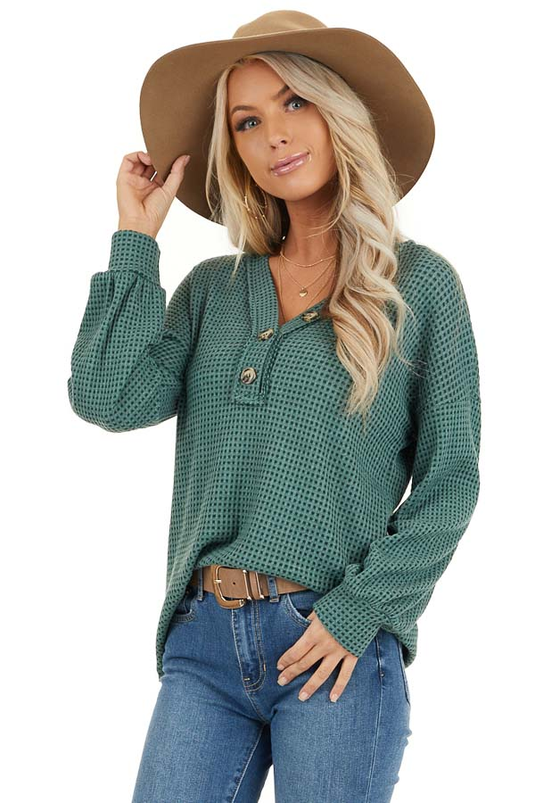 Teal Waffle Knit Top with Front Button Details front close up