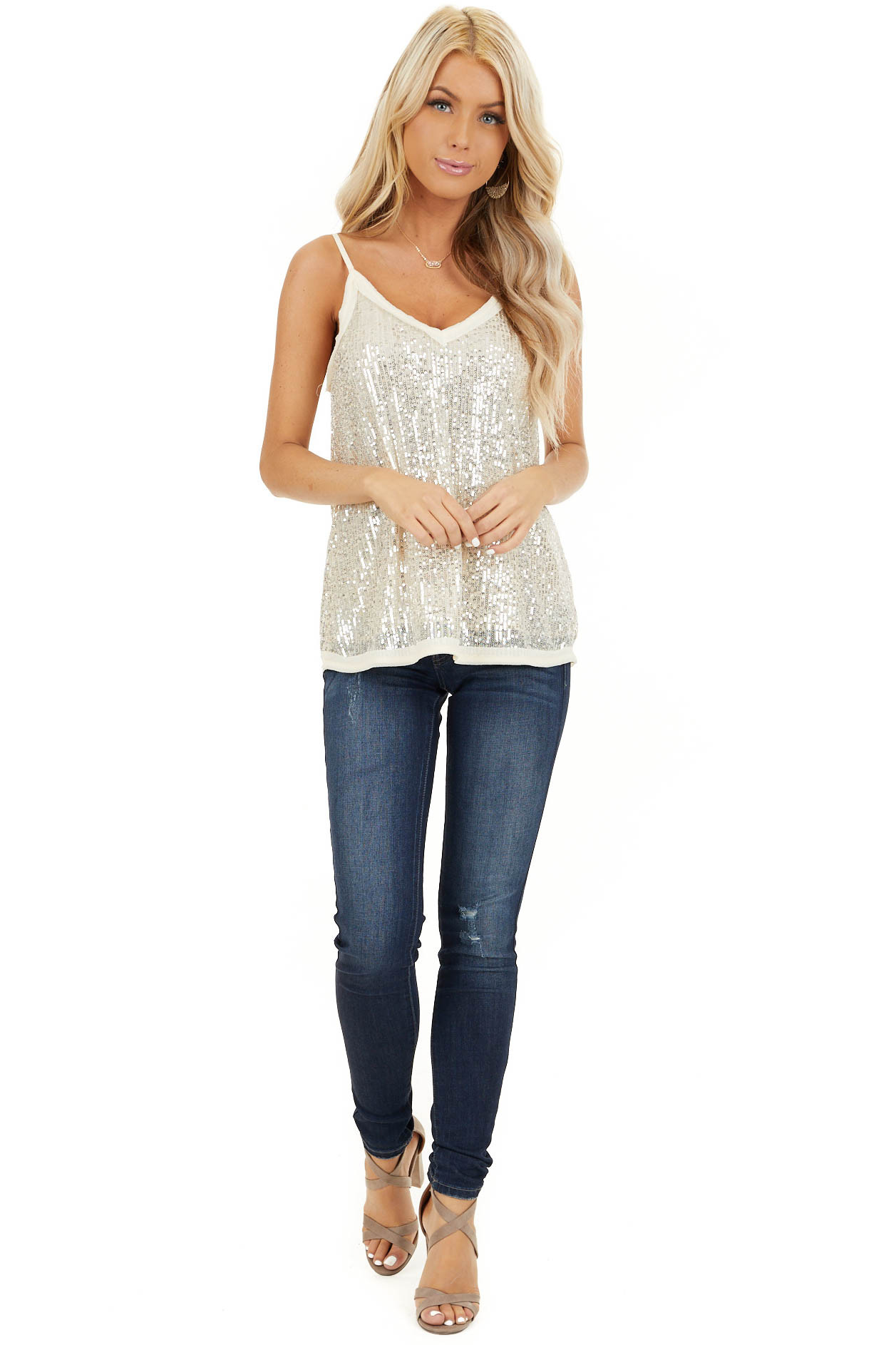 Champagne Sequin Cami Top with V Neckline and Chiffon Trim front full body