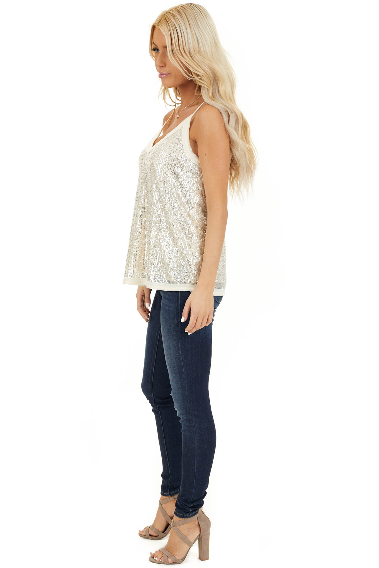 Champagne Sequin Cami Top with V Neckline and Chiffon Trim side full body
